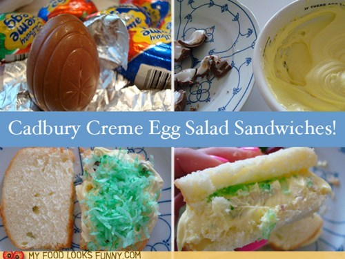 bread,cadbury creme egg,coconut,gross,sandwich,sugar