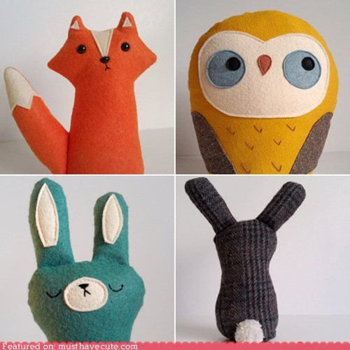 bunny,fox,Owl,Plush,wool