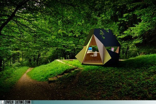 cabin fold hut origami tent woods yurt
