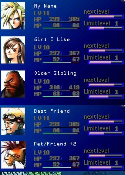 barret,cid,cloud,final fantasy,final fantasy VII,her name was Nikki,Red XIII,the internets,tifa