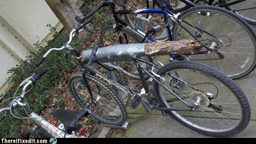 bicycle,duct tape,green energy,log,stump,wood