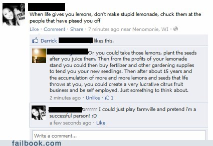 Farmville,lemons,metaphor,touché