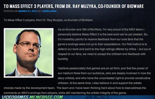 BioWare DLC ending criticism mass effect mass effect 3 news official ray muzyka response