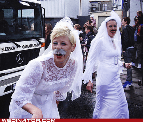 brides,drag,funny wedding photos,men,wedding dress