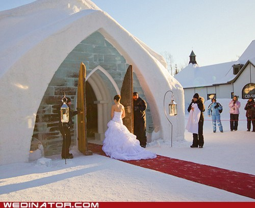 bride,funny wedding photos,ice,snow