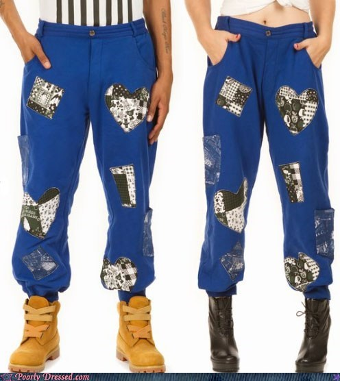 boots fashion pants patches patchwork sweatpants