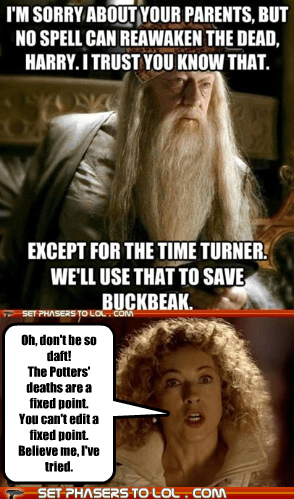alex kingston buckbeak doctor who dumbledore fixed Michael Gambon River Song time travel