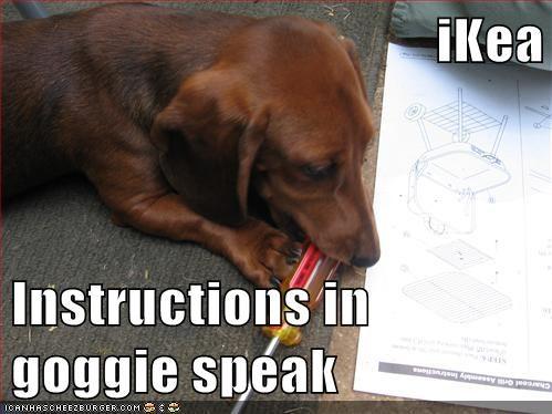 iKea  Instructions in goggie speak