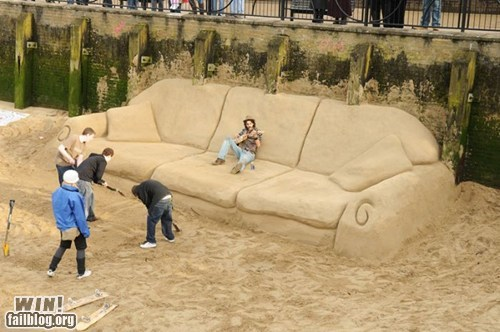 beach,couch,relaxing,sand,sculpture