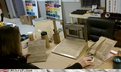 cardboard desk joke laptop office prank phone prank trick - 6017699840