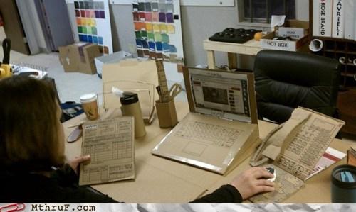 cardboard desk joke laptop office prank phone prank trick - 6017699840