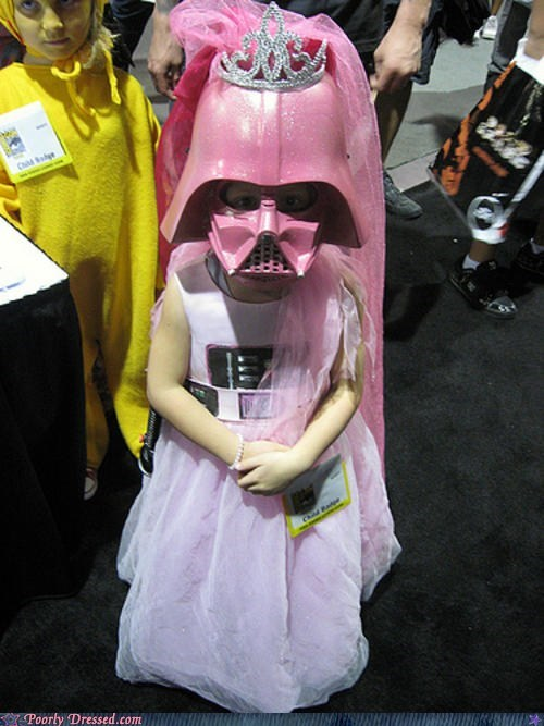 comic con,costume,darth vader,tiara,toddler,vader