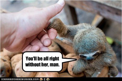 bro,broken heart,friend,hold hand,love,sloth