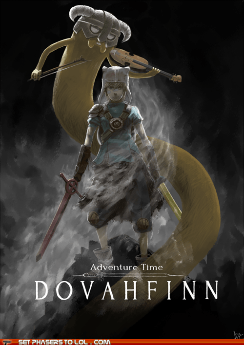 adventure time,dovahkiin,finn and jake,Skyrim,violin