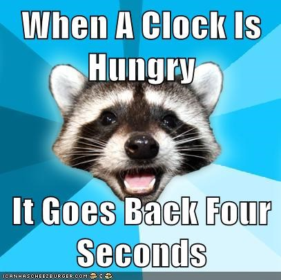 clock,hungry,Lame Pun Coon,seconds,time