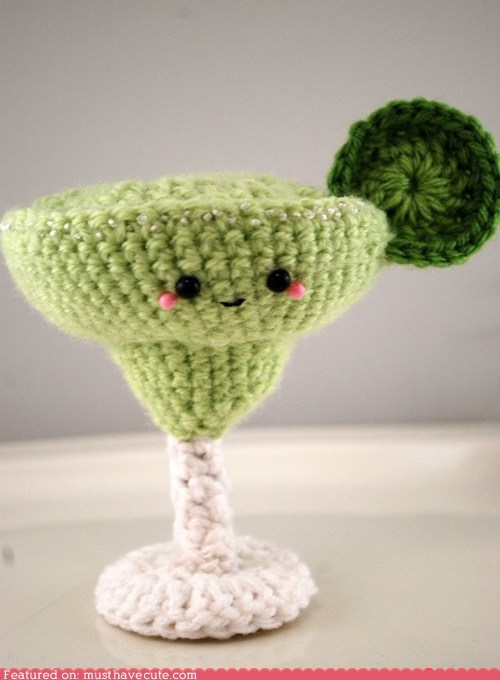 Amigurumi,booze,Crocheted,drink,face,lime,margarita