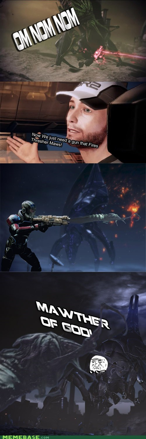 effect,mass effect,mother of god,reapers,thresher maw,video games