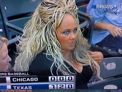 baseball chicago hair mop rangers scary texas wig
