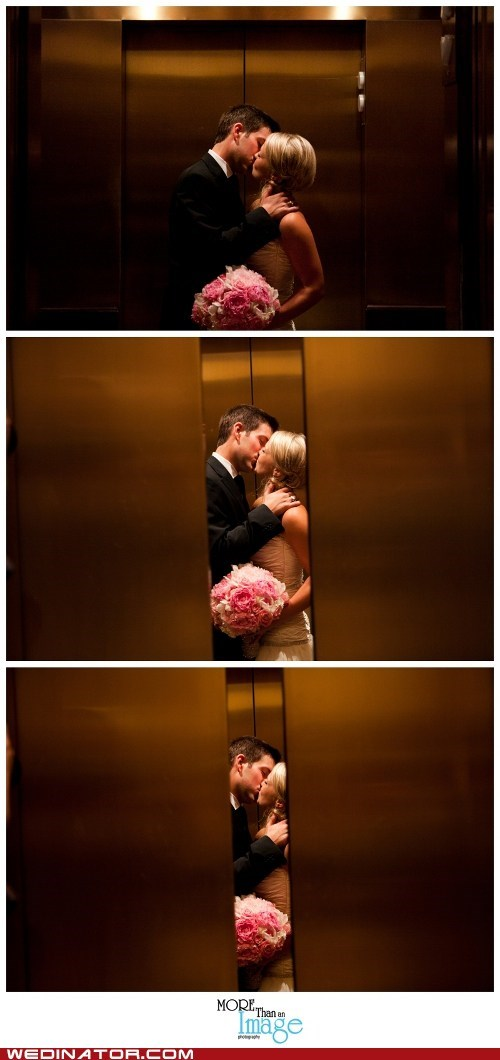 bride,elevators,funny wedding photos,groom,KISS