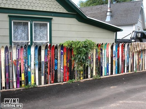 design,fence,recycling,repurposed,skis
