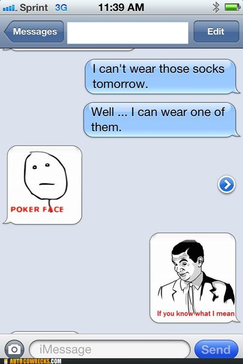 clothing if you know what i mean masturbation poker face rage face socks - 6019565056