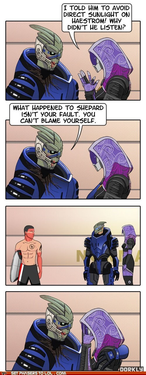 burn,comics,commander shepard,Garrus,mass effect,sunlight,tali,video games