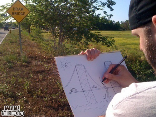 bridge,clever,drawing,g rated,Hall of Fame,literal,pun,win