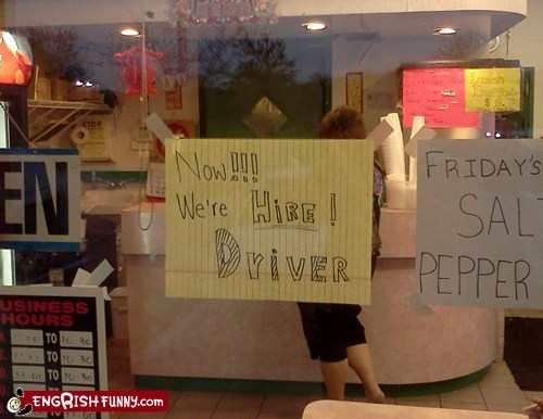 business driver engrish hire hiring sign