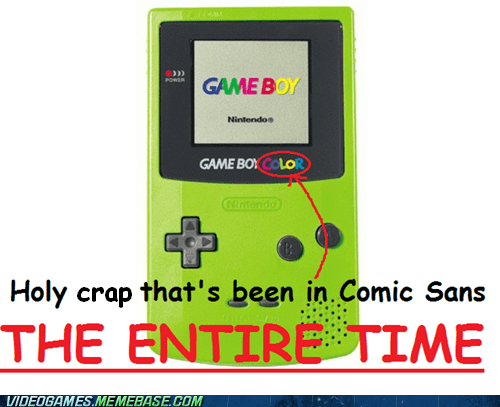 comic sans font game boy color meme text