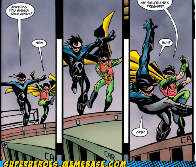 batman,joke,nightwing,pregnant,robin,Straight off the Page