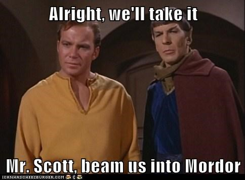 beam,best of the week,Captain Kirk,Leonard Nimoy,mordor,Shatnerday,Spock,the one ring,William Shatner