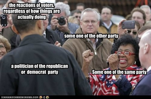 Some one of the same party some one of the other party a politician of the republican or democrat party the reactions of voters, regardless of how things are actually doing