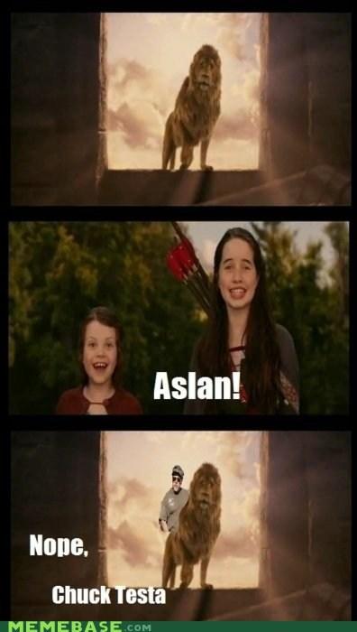aslan Chuck Testa meme madness narnia nope - 6022550784