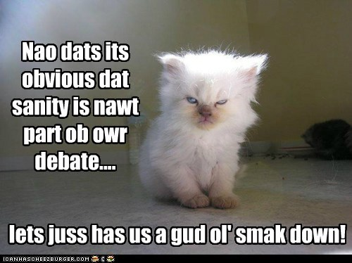Nao dats its obvious dat sanity is nawt part ob owr debate.... lets juss has us a gud ol' smak down!