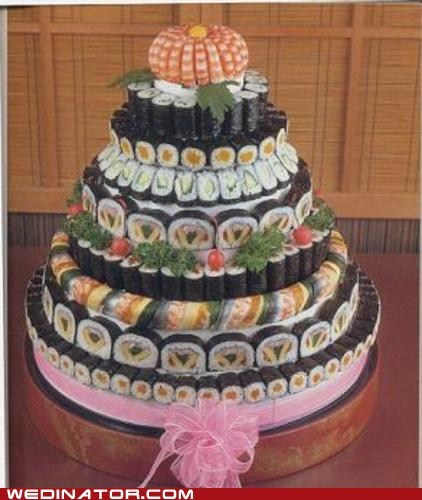 funny wedding photos,Japan,sushi,wedding cakes