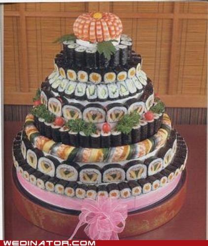 funny wedding photos Japan sushi wedding cakes - 6023202816
