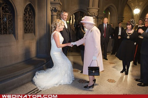 bride,england,funny wedding photos,groom,Hall of Fame,Queen Elizabeth II,royalty