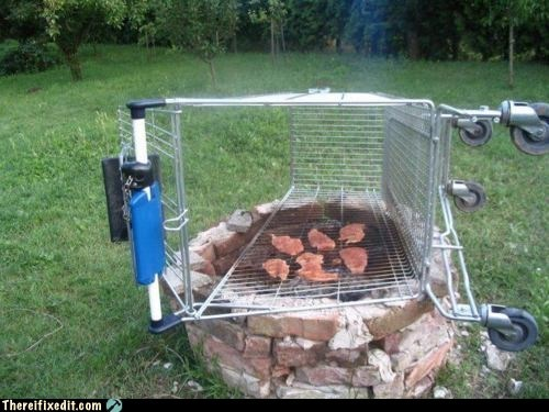 bbq,fire pit,g rated,grill,meat,shopping cart,there I fixed it