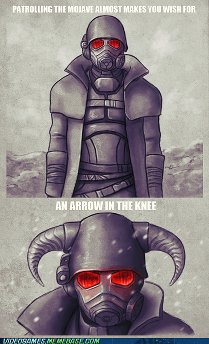 arrow to the knee,comic,fallout,meme,new vegas,Skyrim,the elder scrolls