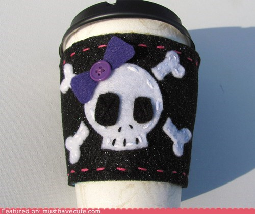 bow coffee crossbones cup girly sleeve slukk tough - 6026437632