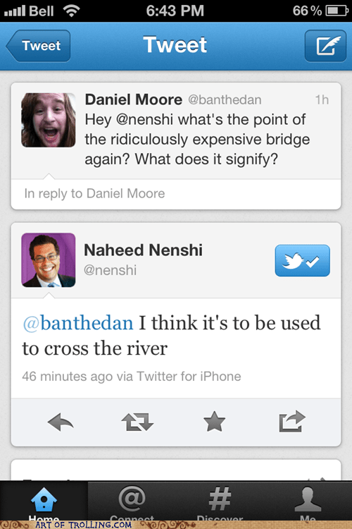 bridge,daniel moore,mayor,trolling,twitter