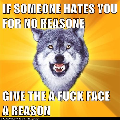 IF SOMEONE HATES YOU FOR NO REASONE GIVE THE A FUCK FACE A REASON