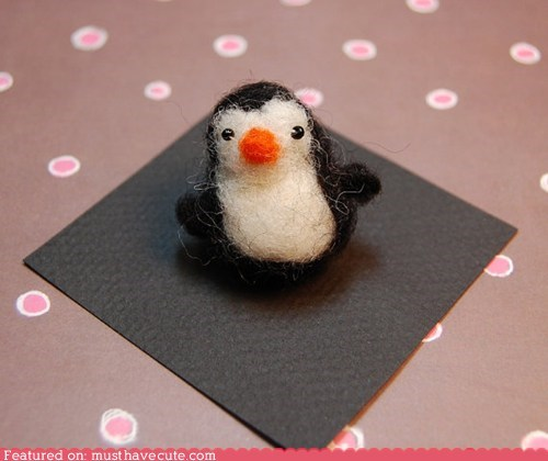 felted handmade miniature penguin wool
