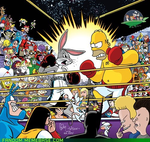 bugs bunny,cartoons,crossover,Fan Art,homer,the simpsons