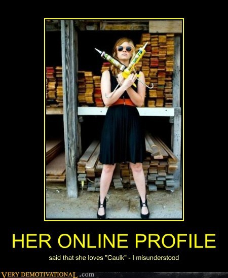 caulk,dating,hilarious,online,profile,pun