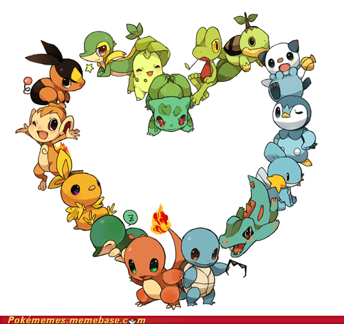 all the gens,art,cute,dawww,fire,grass,starters,water