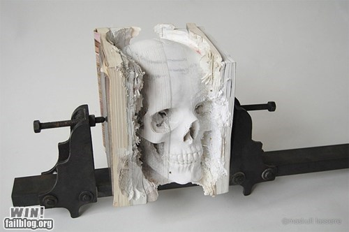 art,books,carving,design,reading is sexy,skull