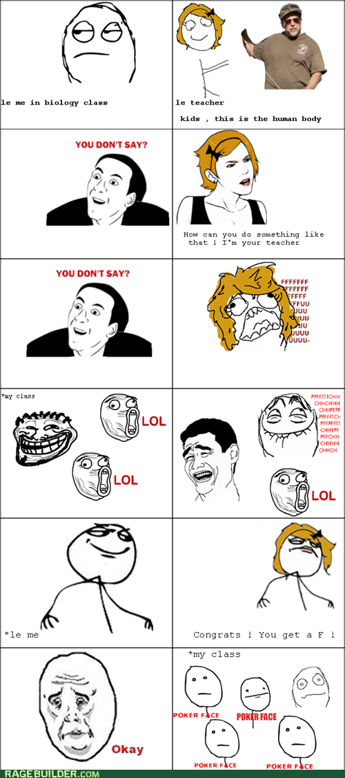 f yeah,poker face,Rage Comics,truancy story,you dont say