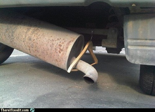 car,coat hanger,engine,g rated,muffler,there I fixed it,truck