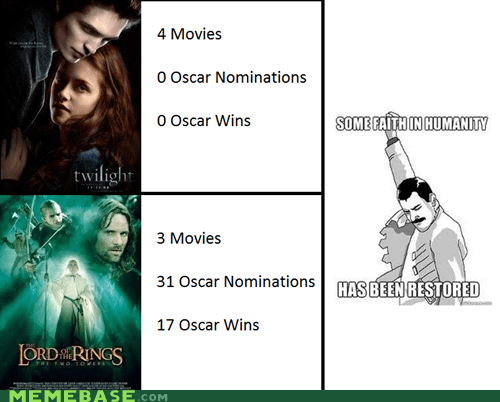 faith,humanity,Lord of the Rings,oscars,Rage Comics,twilight